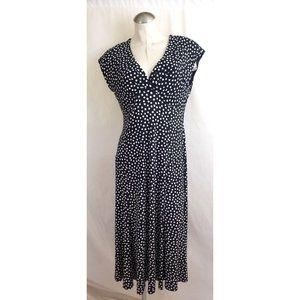 Jones Wear Size 14 Black White Polka Dot Dress